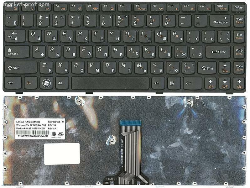 Клавиатура для ноутбука Lenovo B470, G470, V470, Z470, черная, рамка черная (25-01509062) (25-01509062)